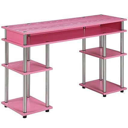 Swell Amazon Com Long Narrow Desk Table With 5 Shelves Pink Interior Design Ideas Skatsoteloinfo