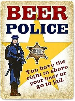 Hombre de las Cavernas de jarra de cerveza con texto retro de diseño con texto en inglés de policía para pared 391