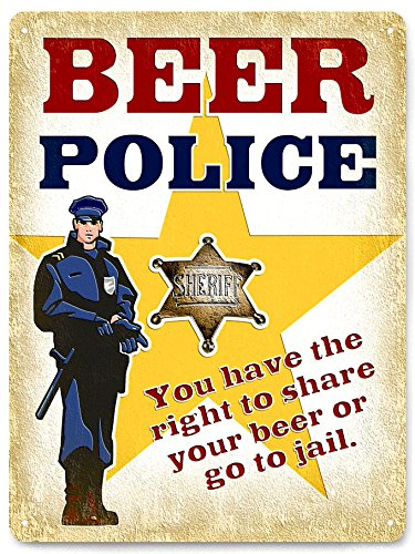 Amazon.com: Beer Police Sign funny metal uv plus / vintage style ...
