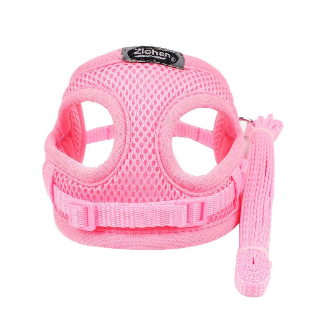 Pet Soft Mesh Vest Adjustable Dog Puppy Harness Pets Puppy Dog Soft Mesh Walking Chest Collar Strap Durable Outdoor Vest (Pink)