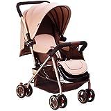 Homehalo ベビーカー 両対面 ベビーバギー 折りたたみ 軽量4輪機能 通気性良い 買い物かご付き 対象 新生児~36ヶ月 (カーキ)