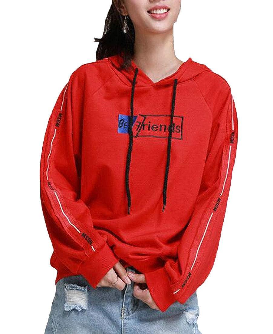 Pandapang Womens Vogue Pullover Raglan Sleeve Letter Hooded Sweatshirts Jacket