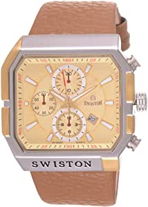 Swiston Men's Gold Dial Synthetic Band Casual Watch - 8054G