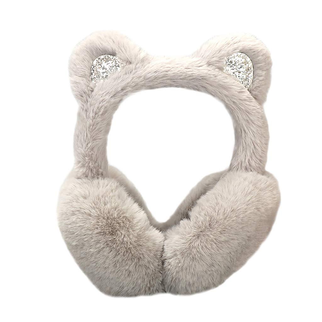 Hosamtel Women Cute Cat Ears Design Windproof Winter Warm Faux Fur Adjustable Earmuffs (2#Gray)