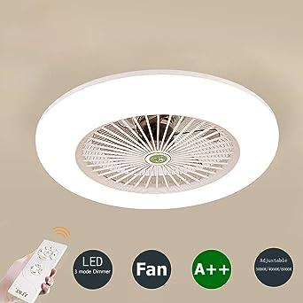 Deckenventilator mit Beleuchtung und Fernbedienung Leise Schlafzimmer-Lampe  LED Deckenleuchte 3-Farbtemperatur Dimmbar Deckenlampe Weiß Rund ...