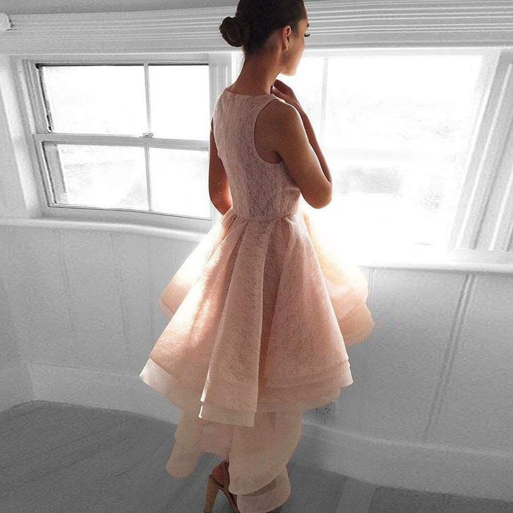 4Clovers Womens Vintage Sleeveless Lace Floral High Low Pleated Layers Evening Party Dress Elegant Tutu Dresses