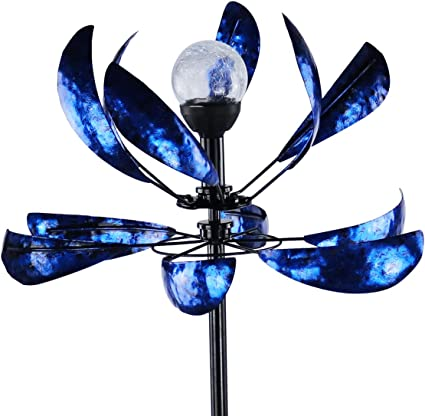 Solar Wind Spinner 3d Kinetic Wind Spinners Outdoor Metal Gardening Decorations With Multi Color Led Lighting By Solar Powered Glass Ball With Lawn Ornament Wind Mills Garden Outdoor