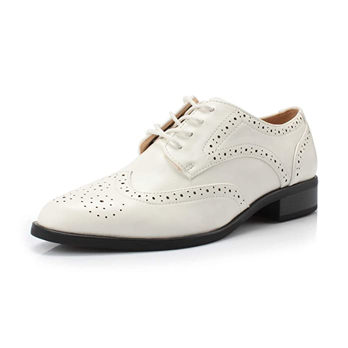 Vintage Style Shoes, Vintage Inspired Shoes FOOTSELF DUNION Berry Womens Classic Comfortable Perforated Brogue Low Heels Casual Oxford Daily Shoe $34.99 AT vintagedancer.com