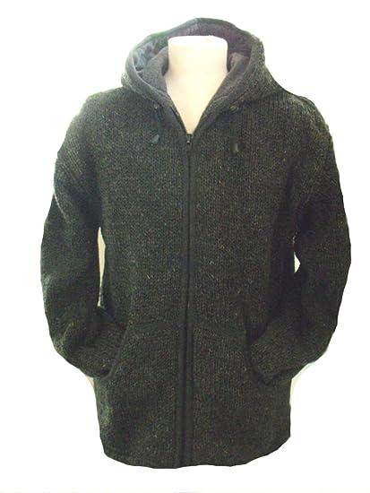 Fleece gefüttert Dunkelgrau (Charcoal) Handgestrickte Woll -Jacke mit  Kapuze - Fair Trade ( 4724618278