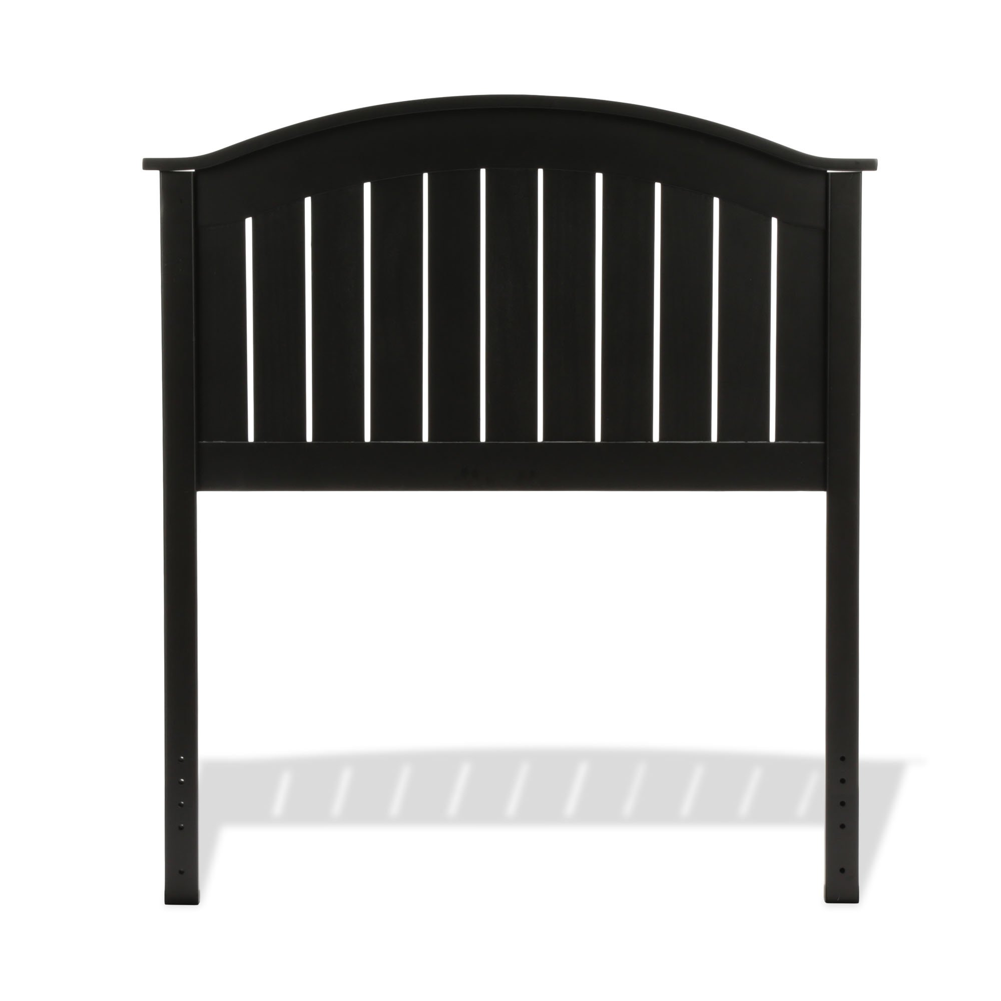 Fashion Bed Group Finley Wooden Headboard Panel with Curved Top Rail Design, Black Finish, Twin