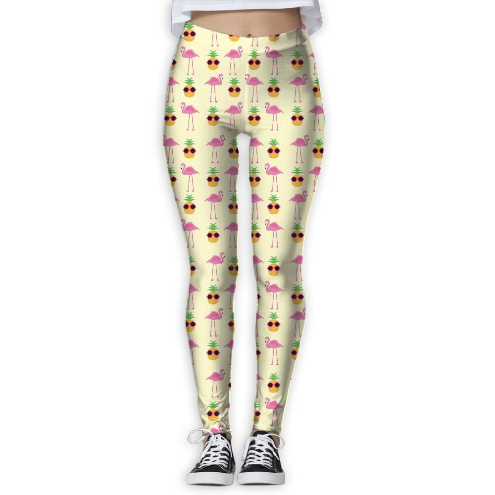 Summer Flamingos and Pineapples with Glasses Women's Activewear High-Waist Tights Leggings Yoga Pants L
