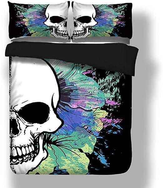 Florals Skull Duvet Cover Pillow Case Twin Full Queen King Bed Black Bedding Set