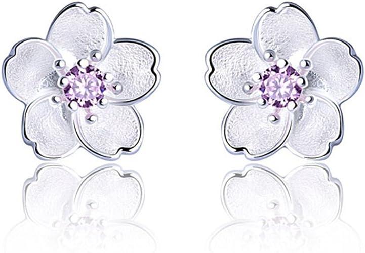 925 Sterling Silver Pink Flower Daisy Stud Earrings Mini Studs Girl Women Child