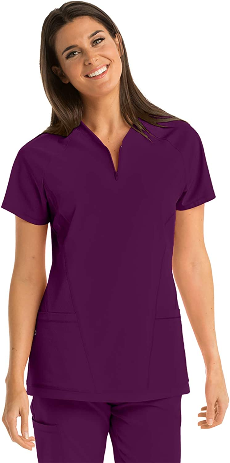 BARCO ONE 3-Pocket Zip V-Neck Boost Top for Women - Chafe-Free Medical Scrub Top