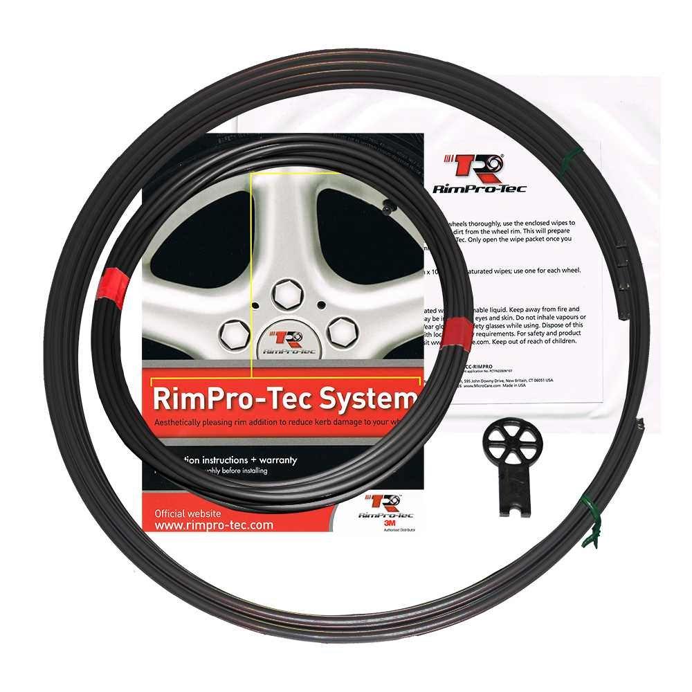 Système RimPro-Tec | 4 x fines rayures intérieures + 4 x bases | Réduire les dégâts de bord | Protecteurs durables tous temps | Convient à toutes les roues de 14 'à 22' | Set complet | Couleur de base Argent