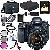 Canon EOS 6D Mark II DSLR Camera with 24-105mm f/4 Lens 1897C009 + LPE-6 Lithium Ion Battery + 128GB SDXC Card + Canon 100ES EOS shoulder bag + Flexible Tripod + Flash + Mini HDMI Cable Bundle