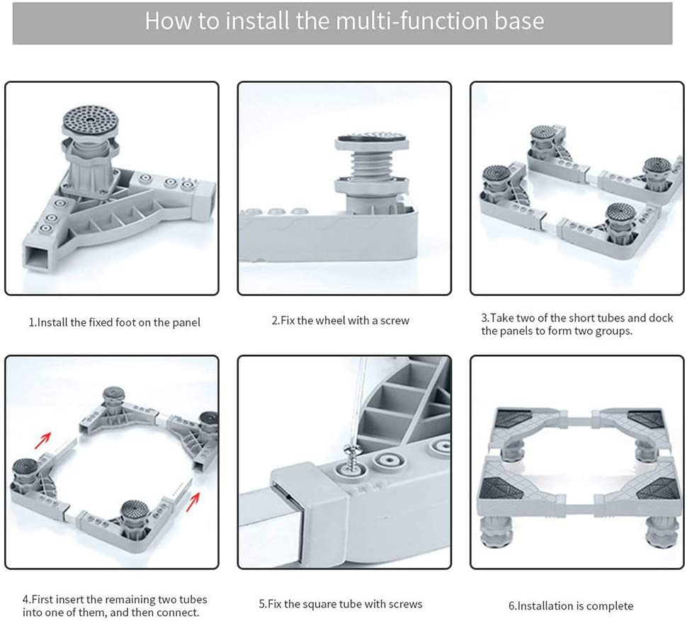 soporte para lavadora port/átil Sonoaud Soporte ajustable para refrigerador soporte para lavadora con ruedas soporte para frigor/ífico desmontable gabinete de base de pedestal