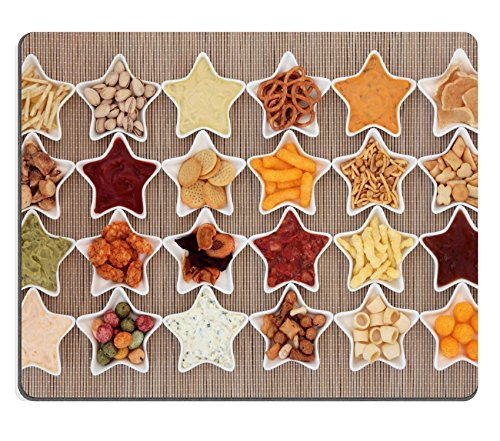 Luxlady Mousepad Large crisp and dip snack food selection in porcelain star dishes over bamboo IMAGE 35849313