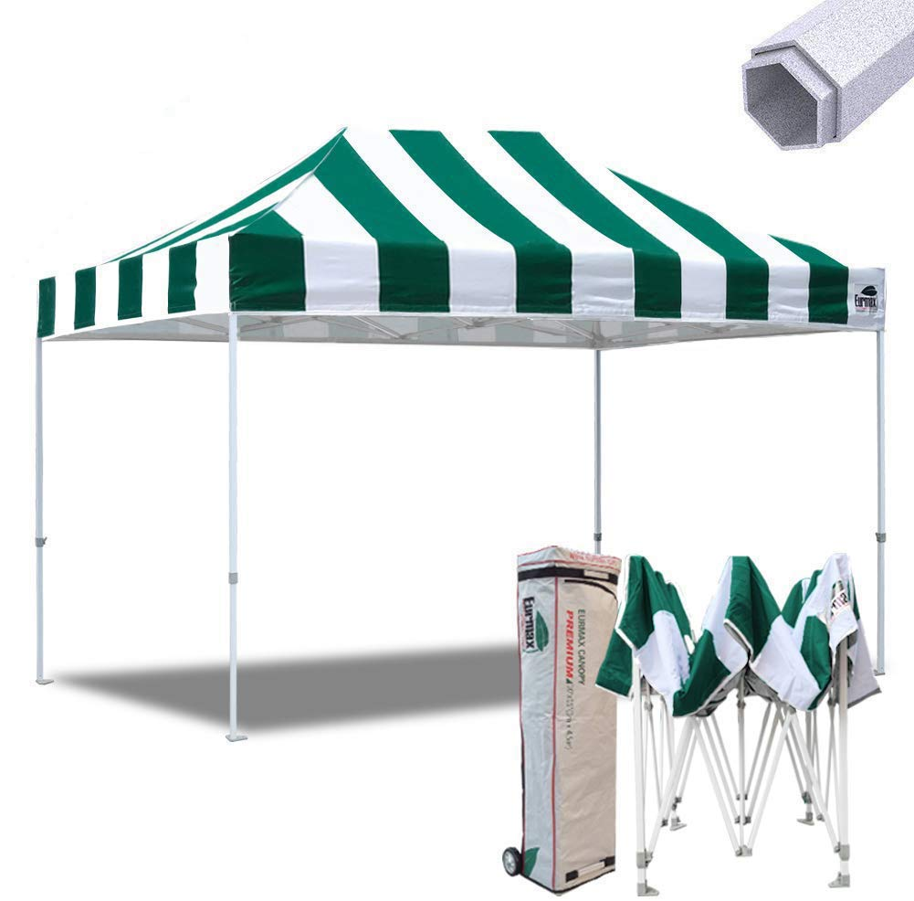Eurmax 10×15 Ft Premium Ez Pop up Canopy Instant Shelter Outdoor Party Gazebo Commercial Grade Bonus Roller Bag Stripe Green White
