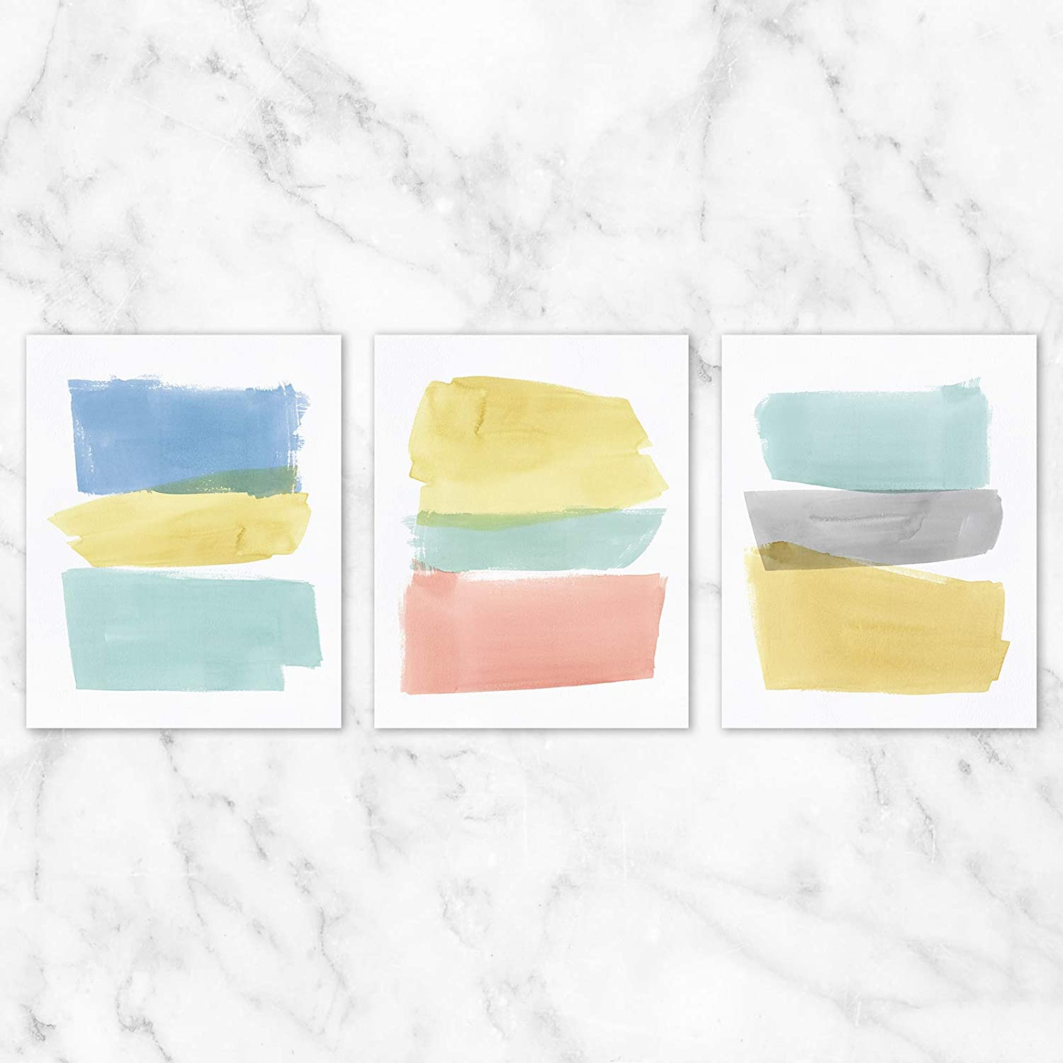 Amazon Com Pastel Abstract Wall Art Set Of 3 8x10 Prints On Linen Paper Unframed Posters