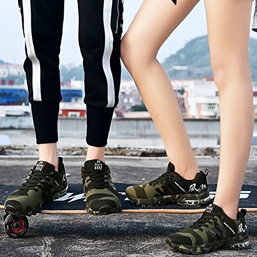 wealsex Basket Air Camouflage Sport Mesh Respirant Chaussure Course Running Entraînement Fitness Multisports Outdoor Homme Femme Unisexe Vert M4QbAoTaXl