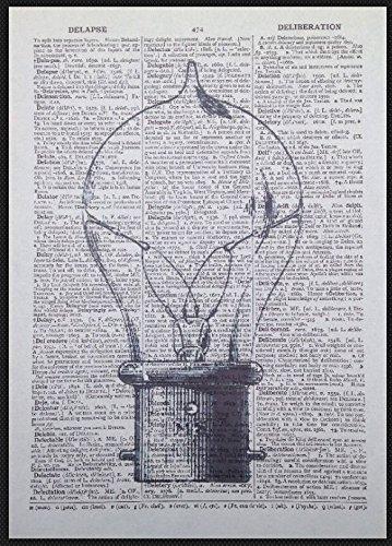 Lampadina vintage Print Steampunk industriale dizionario pagina Wall Art immagine homemade