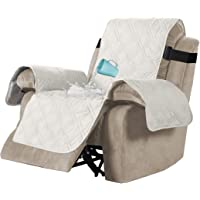 H.VERSAILTEX 100% Waterproof Quilted Recliner Chair Cover Recliner Cover Recliner Slipcover for Living Room, Secure with Elastic Strap and Non Slip Puppy Paw Silicone Backing (Standard, Beige)