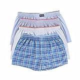 LAETAN Men's 4 Pack Soft Cotton Woven Boxer Short (Medium, Blue/While)