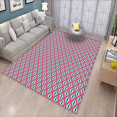 Novelty Anti-Static Area Rugs Vintage Retro Theme Hexagon Stripes on Mint Green Backdrop Children Kids Nursery Rugs Floor Carpet Fern Green Hot Pink and Pale Pink -