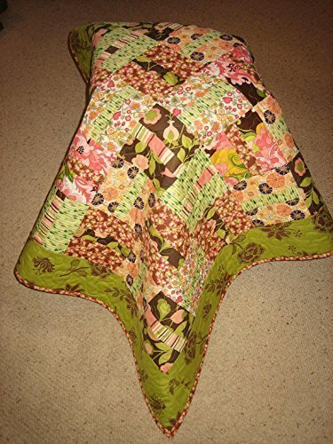 "Modern Baby Quilt Pink Brown Green, Baby Toddler Throw, 38 X 44"", 100% cotton fabric by Tahoe Quilts"