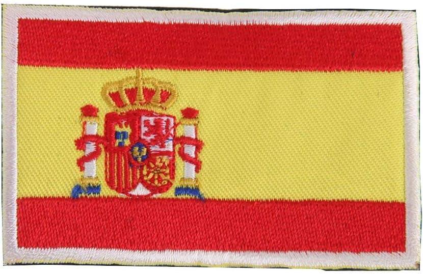 Ohrong España bandera nacional España parche bordado militar español insignia emblema gancho y lazo apliques para pantalones vaqueros chaquetas gorras bolsas (borde blanco): Amazon.es: Hogar