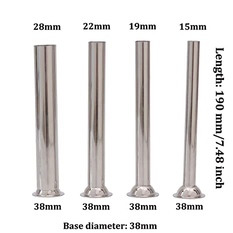 LiebHome Stainless Steel Funnels Attachment for Manual Sausage Stuffer for #5 Food//Meat Grinders /Φ12mm///Φ19mm///Φ32mm Stuffing Tubes Set of 3