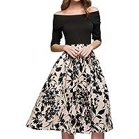Fitfulvan Vestido de Fiesta Informal con Bolsillos de Retazos para Mujer, Estilo clásico, Corte A, Elegante, Largo hasta la Rodilla