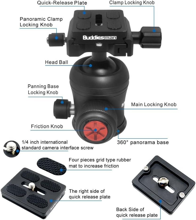 Swiss Standard 360/° Panoramic UNC1//4 Screw Tripod Ball Head for Camera