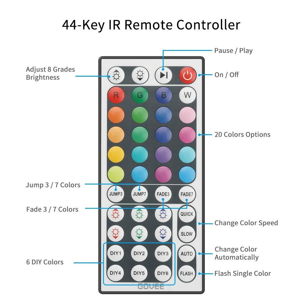 Ruban /à LED Govee /Étanche 5M 5050 RGB SMD Multicolore Bande LED Lumineuse avec T/él/écommande /à Infrarouge 44 Touches avec 3M Adhesif et Alimentation 12V