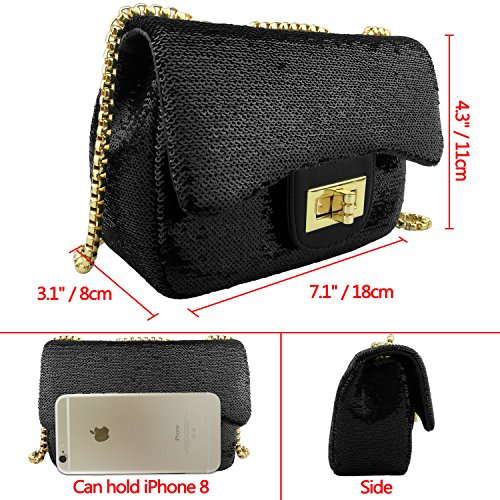 Party Chic Black Summer Mini Shiny Shoulder Evening Betiteto Bag Crossbody Womens Purse Handbags Sequin qwOqxX40