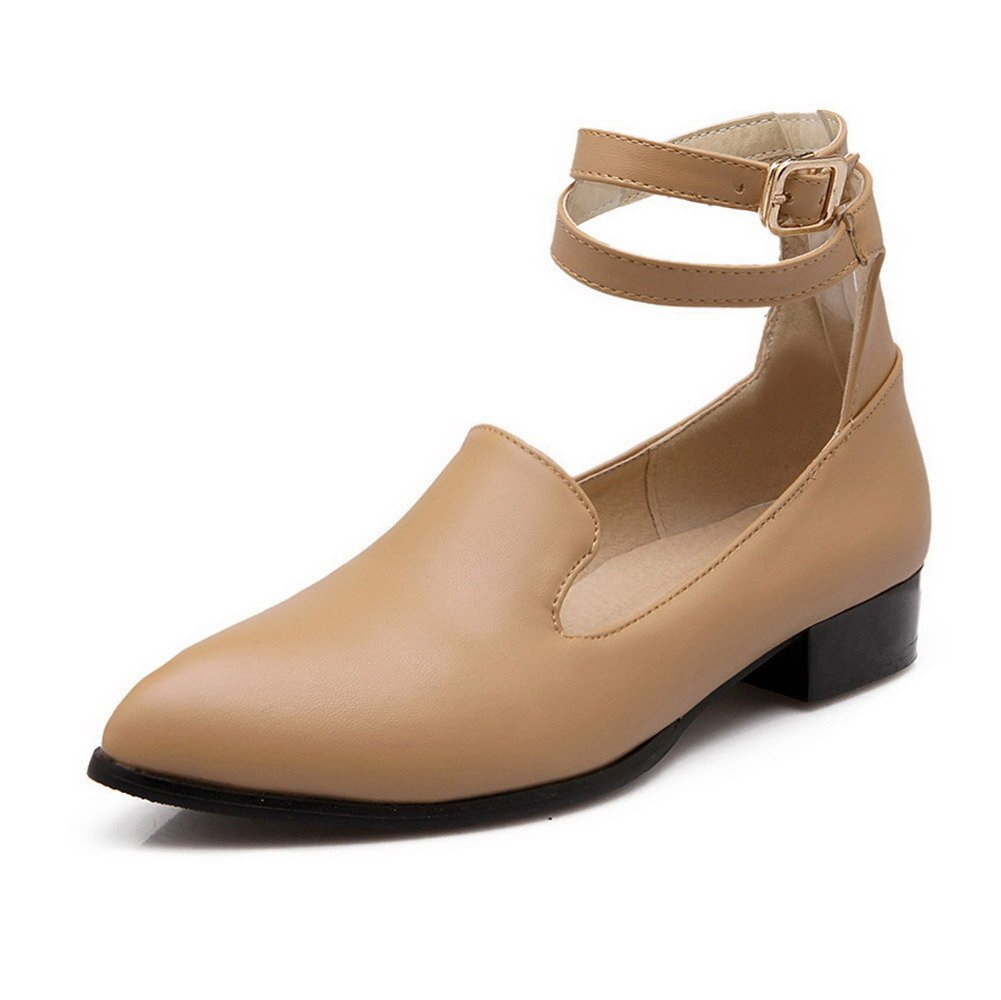 AmoonyFashion Women's Buckle Low-Heels PU Solid Pointed Closed Toe Pumps-Shoes, Apricot, 40 by AmoonyFashion