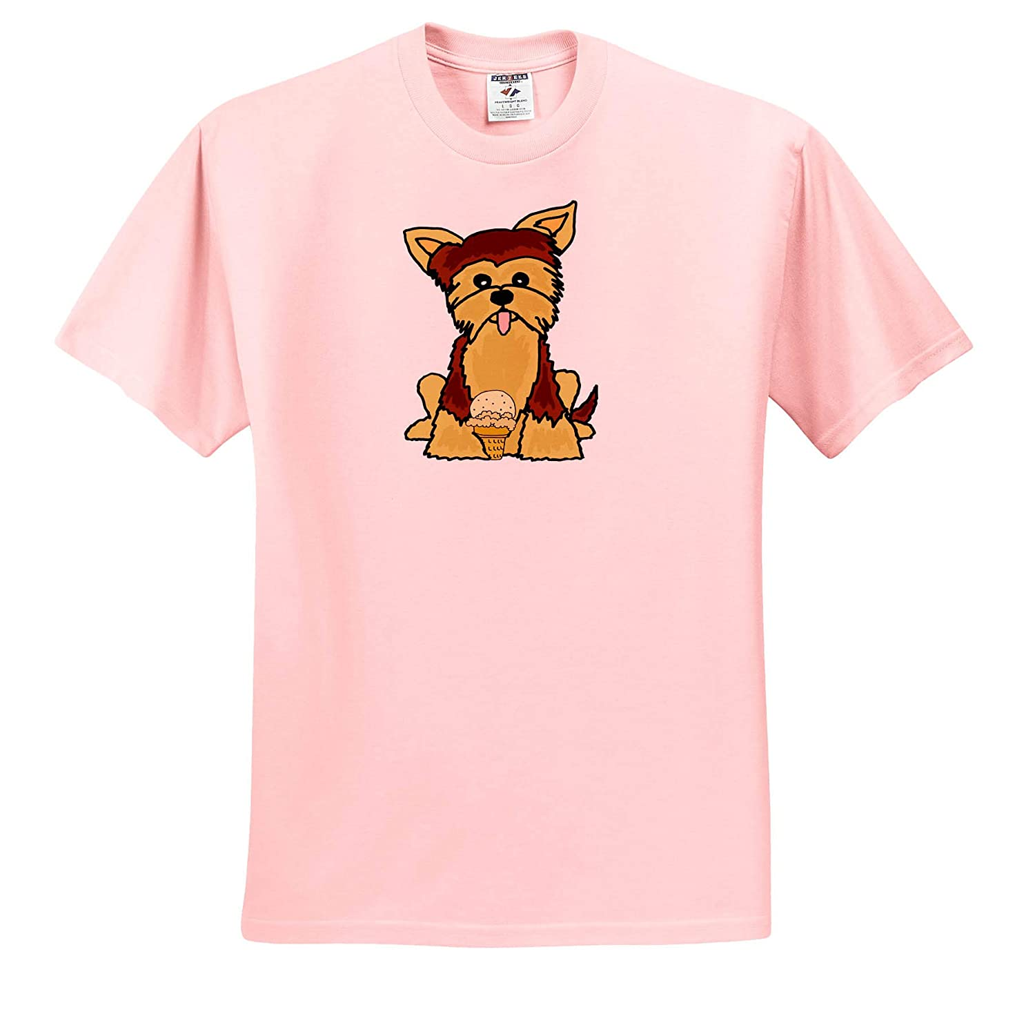 3dRose All Smiles Art T-Shirts Funny Cute Yorkshire Terrier Dog Eating Ice Cream Pets