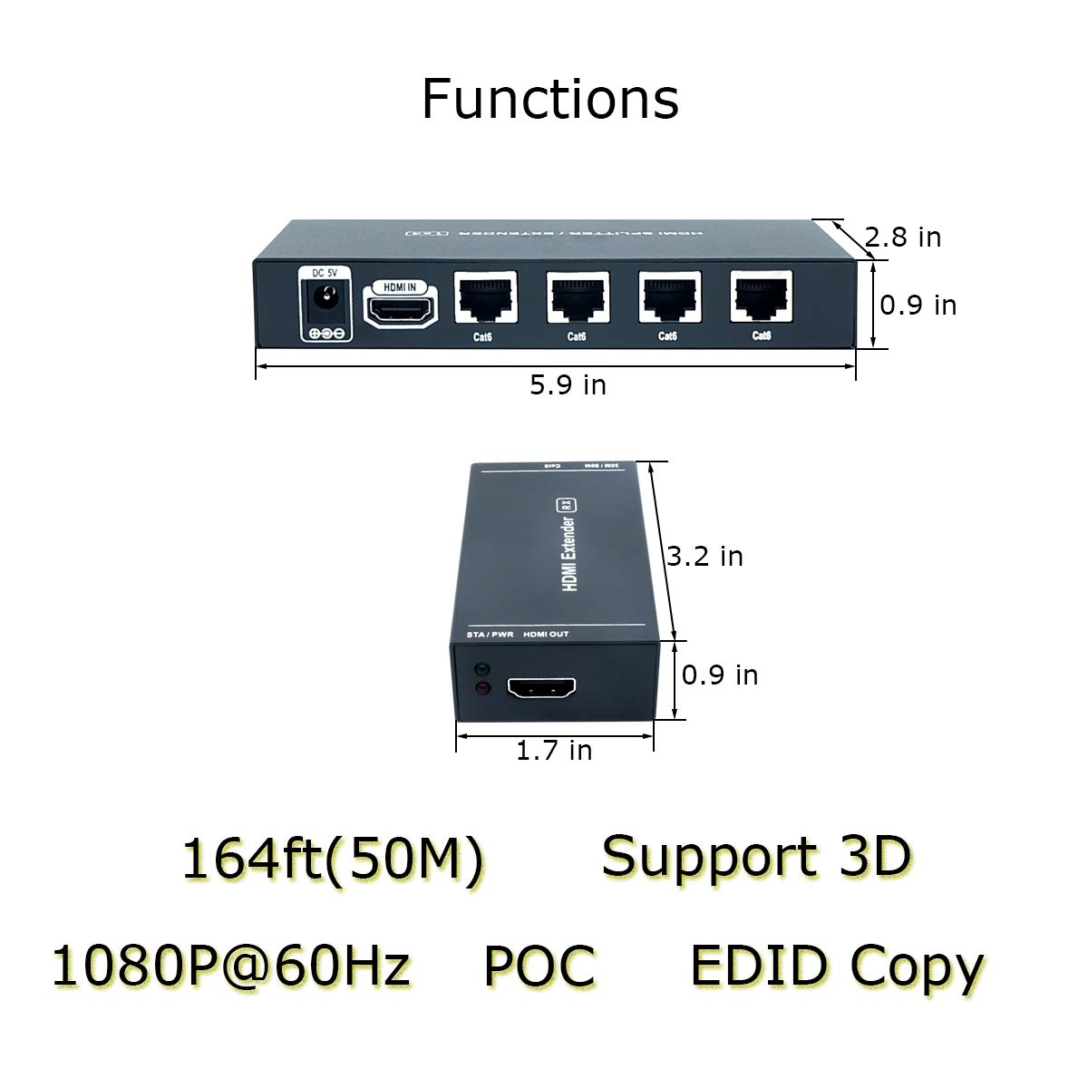 AAO 4 Port HDMI Extender Splitter 1x4 Over Cat5e/Cat6/Cat7 cable up to 164 feet (50 meters) Support HD 1080P 3D POC Function by AAO (Image #4)