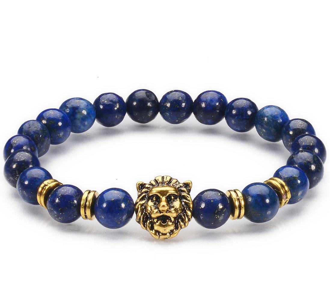 Jewelry Natural Lazurite Stone / Gold-plated Lion Head Mens 8 mm Beads Elastic Bracelets for women and girls