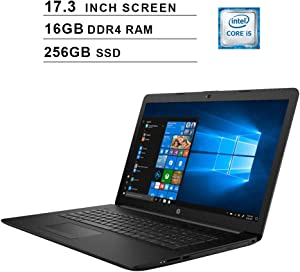 HP 2020 Newest 17.3 Inch Premium Laptop, Intel Quad-Core i5-8265U up to 3.9 GHz, Intel UHD 620, 16GB DDR4 RAM, 256GB SSD, Webcam, DVD, HDMI, WiFi, Bluetooth, Windows 10 Home, Black