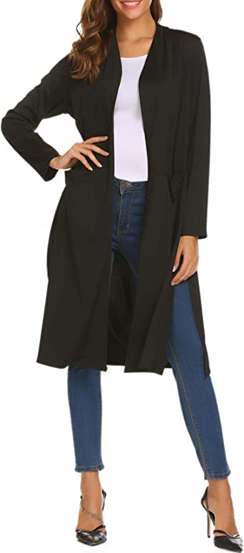 Womens Cardigan Sweater Ladies Open front Coat With pockets Sides split Office