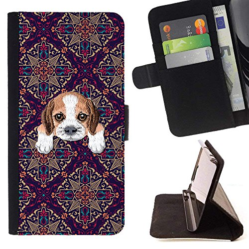 [ BEAGLE ] Embroidered Cute Dog Puppy Leather Wallet Case FOR Sony Xperia XA1 [ Purple Mosaique Tiles Pattern -
