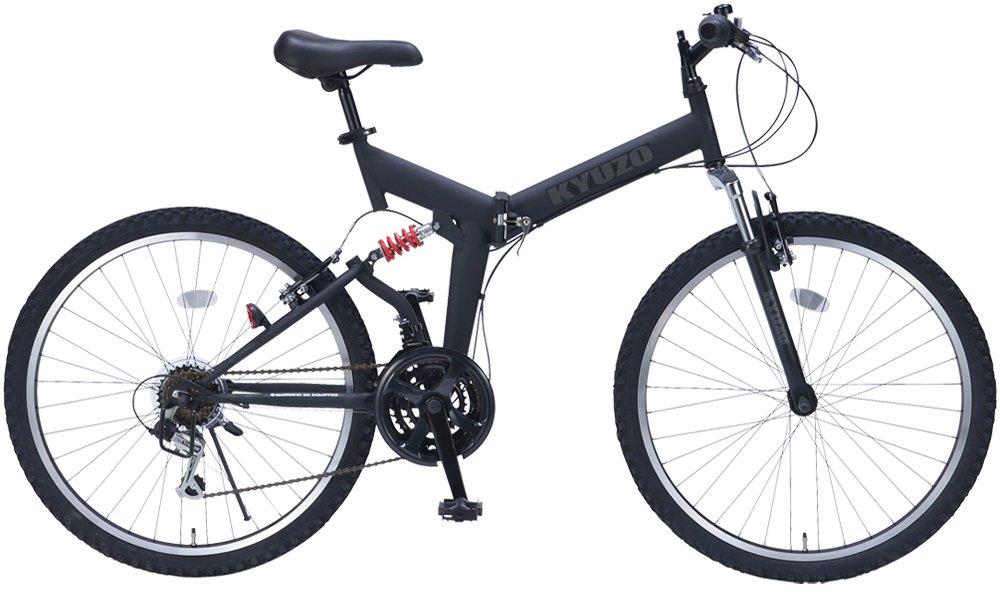 26インチ折りたたみマウンテンバイク 自転車の九蔵特注モデル シマノ製18段変速 グリップシフト フロントサスペンション リアサスペンション KYUZO KZ-104 (マットブラック) B003TNF6RC