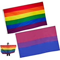 Zeaye, 2 stuks regenboogvlag, heldere kleuren en uv-bestendig, hoofdband van zeildoek en dubbele naad, vlaggen van trots…
