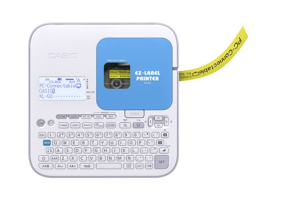 CASIO EZ-Label Printer KL-G2 Beschriftungsgerä t professionell mit USB Schnittstelle,  fü r Schriftbä nder 6 / 9 / 12 / 18 / 24 mm, inkl. Netzteil Casio Europe GmbH (Office Parent)