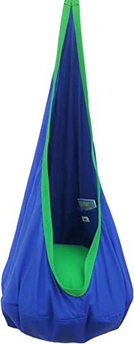 Kids Hanging Pod Swing Chair with Pocket, Hanging Hammock Cocoon, Indoor and Outdoor Fun, Reading Nook, Relaxation, Sensory and Autism Therapy, Easy to Hang Comfortable Nest, Girls and Boys Blue