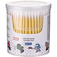 MINISO MARVEL Double Round Cotton Swabs Natural Cotton Ear Buds with Paper Stick for Adults 200 Count