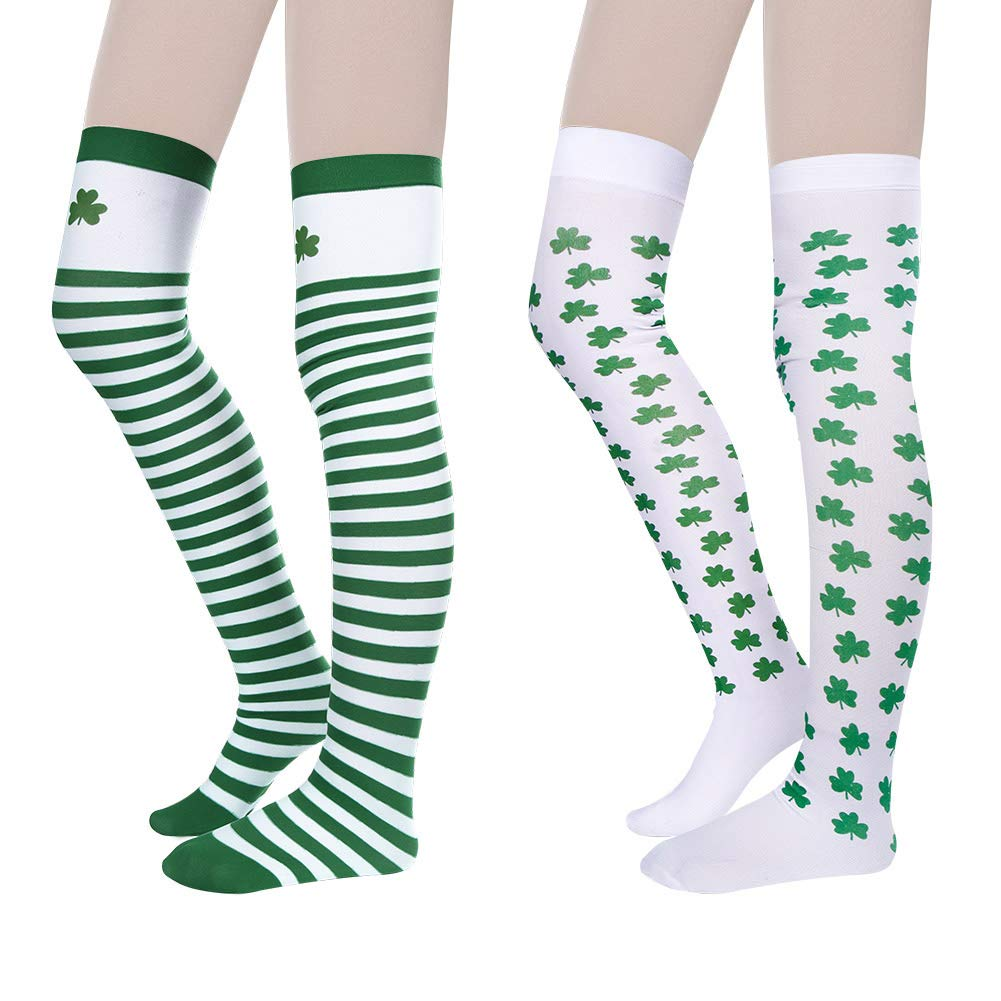 4c8e0891324 Bkpearl 2 Pairs Green Long Striped Stockings