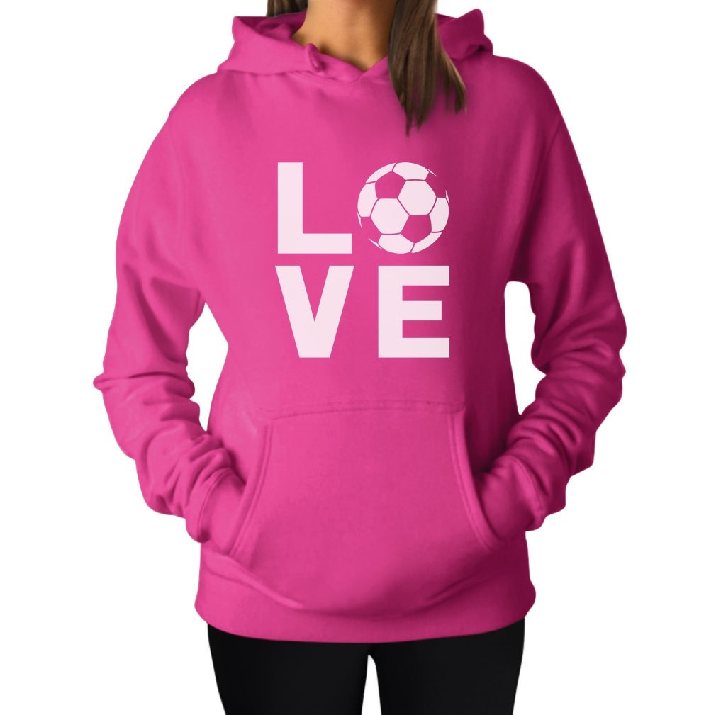 Tstars TeeStars - I Love Soccer - Perfect Gift For Soccer Players/Fans Women Hoodie Small Pink